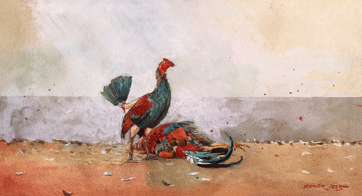 The Cock Fight (1885) by Winslow Homer. Original from The Smithsonian Institution. Digitally enhanced by rawpixel.