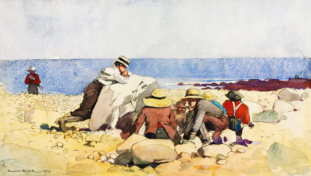 A Clam–Bake (1873) by Winslow Homer. Original from The Cleveland Museum of Art. Digitally enhanced by rawpixel.