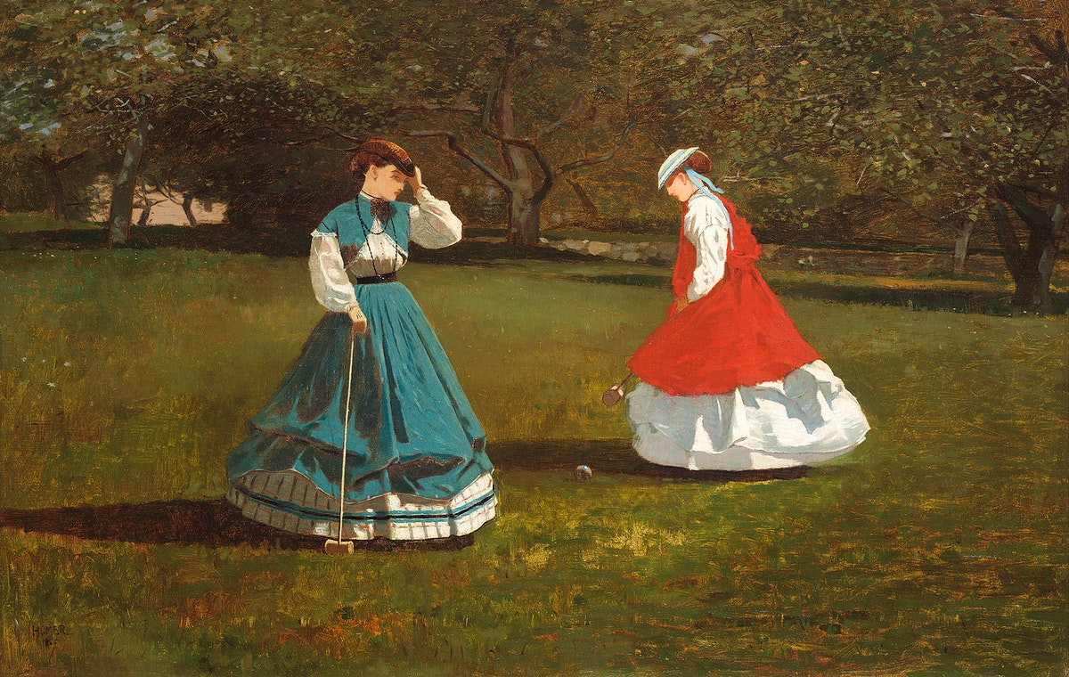 A Game of Croquet (1866) by Winslow Homer. Original from Yale University Art Gallery. Digitally enhanced by rawpixel.