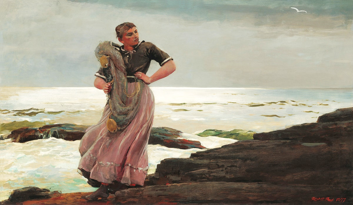 A Light on the Sea (1897) by Winslow Homer. Original from The National Gallery of Art. Digitally enhanced by rawpixel.