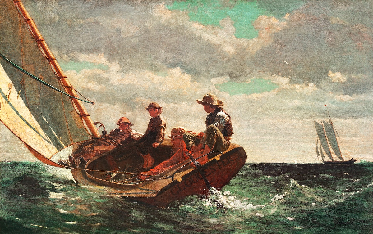Breezing Up, A Fair Wind (ca. 1873–1876) by Winslow Homer. Original from The National Gallery of Art. Digitally…