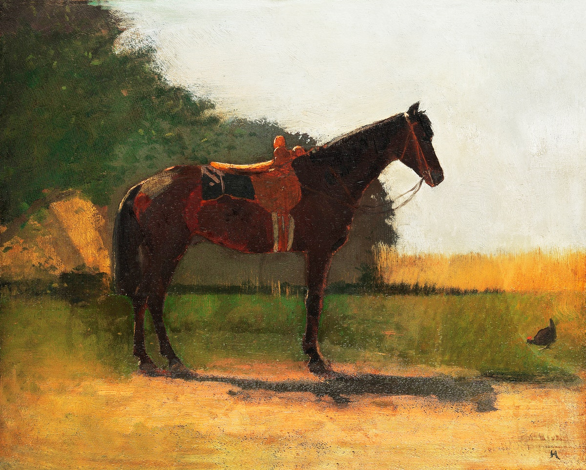 Saddle Horse in Farm Yard (ca. 1870–1875) by Winslow Homer. Original from The MET Museum. Digitally enhanced by…