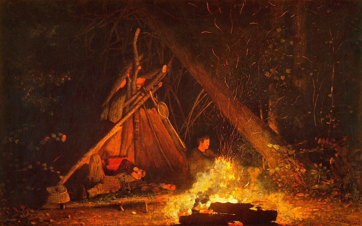 Camp Fire (1880) by Winslow Homer. Original from The MET museum. Digitally enhanced by rawpixel.