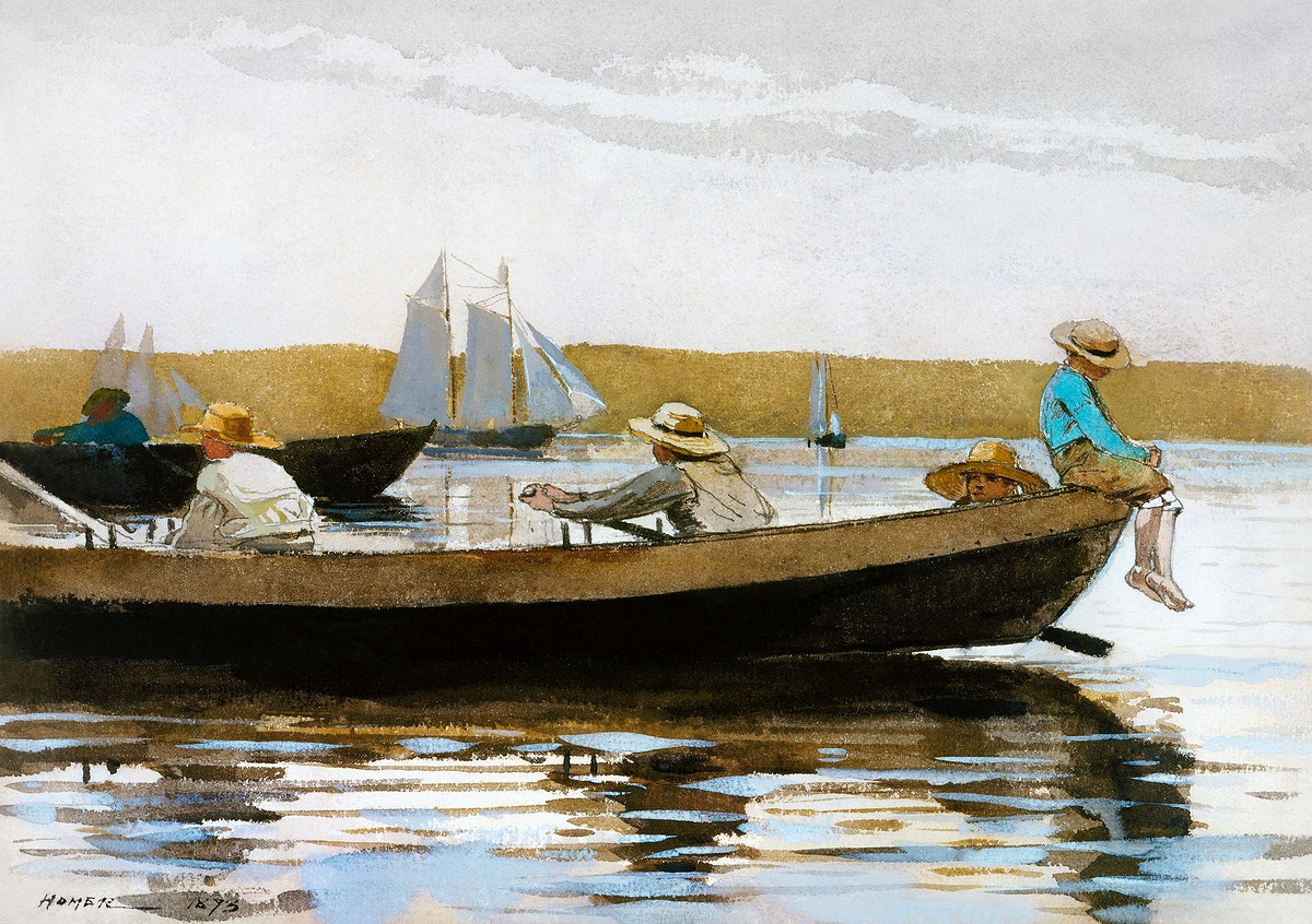 Boys in a Dory (1873) by Winslow Homer. Original from The MET museum. Digitally enhanced by rawpixel.