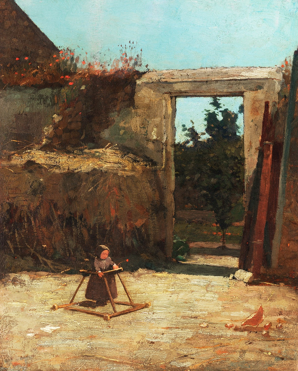 French Farmyard (1867) by Winslow Homer. Original from The Smithsonian. Digitally enhanced by rawpixel.