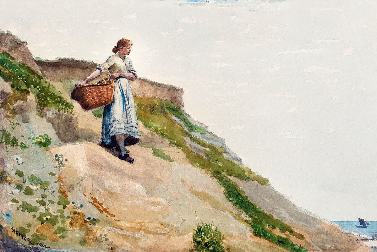 Girl Carrying a Basket (1882) by Winslow Homer. Original from The National Gallery of Art. Digitally enhanced by rawpixel.