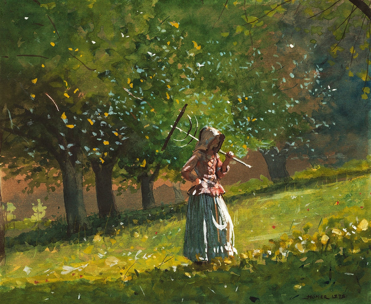 Girl with Hay Rake (1878) by Winslow Homer. Original from The National Gallery of Art. Digitally enhanced by rawpixel.