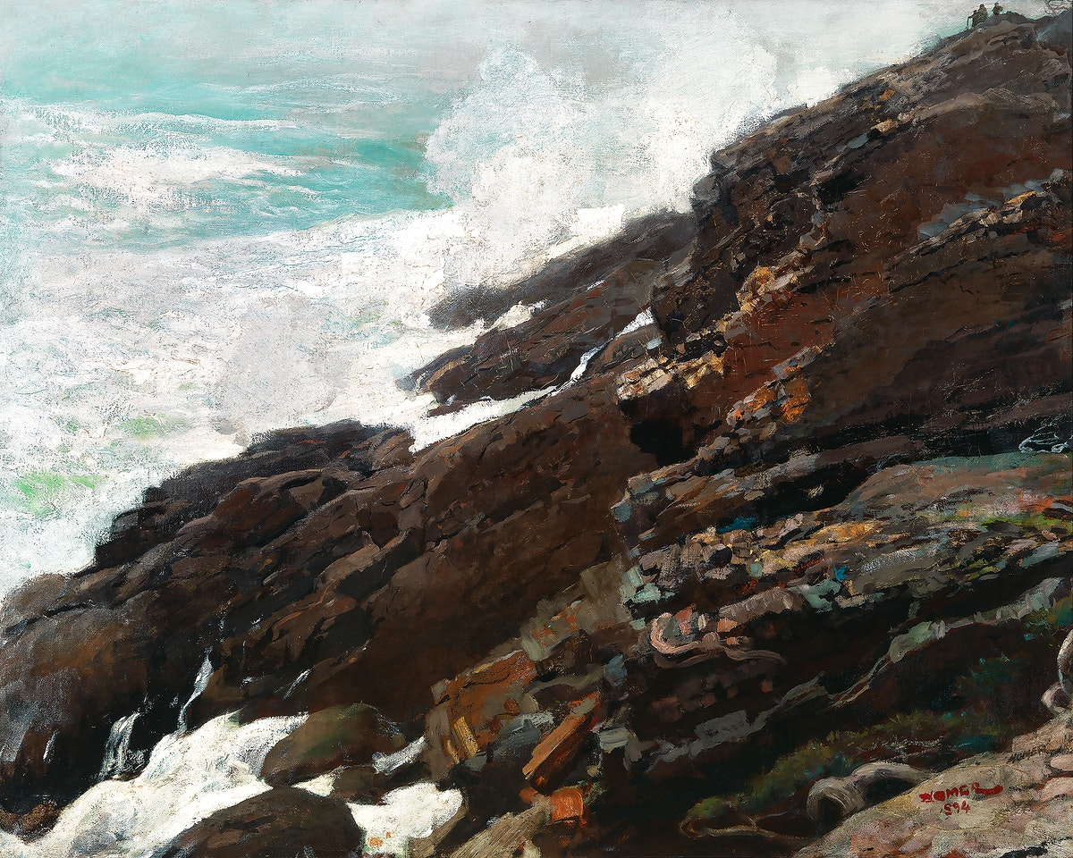 High Cliff, Coast of Maine (1894) by Winslow Homer. Original from The Smithsonian. Digitally enhanced by rawpixel.