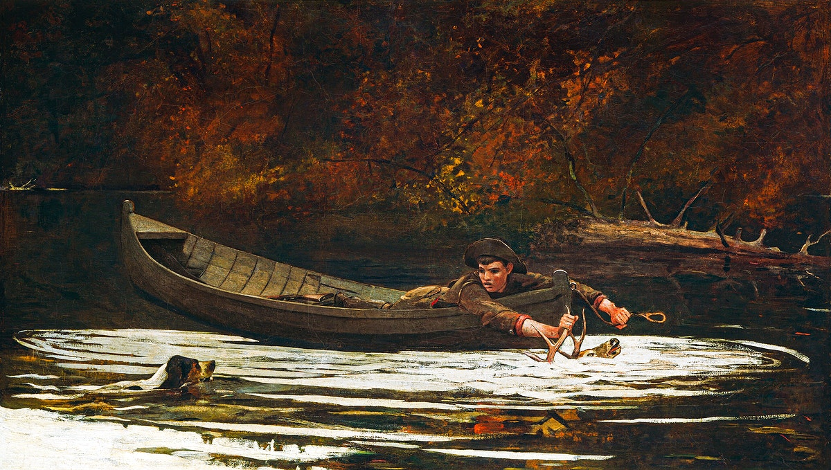 Hound and Hunter (1892) by Winslow Homer. Original from The National Gallery of Art. Digitally enhanced by rawpixel.