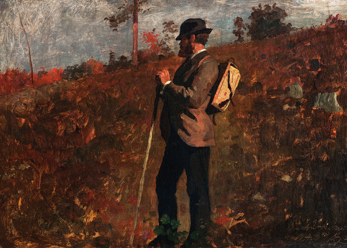Man with a Knapsack (1873) by Winslow Homer. Original from The Smithsonian. Digitally enhanced by rawpixel.