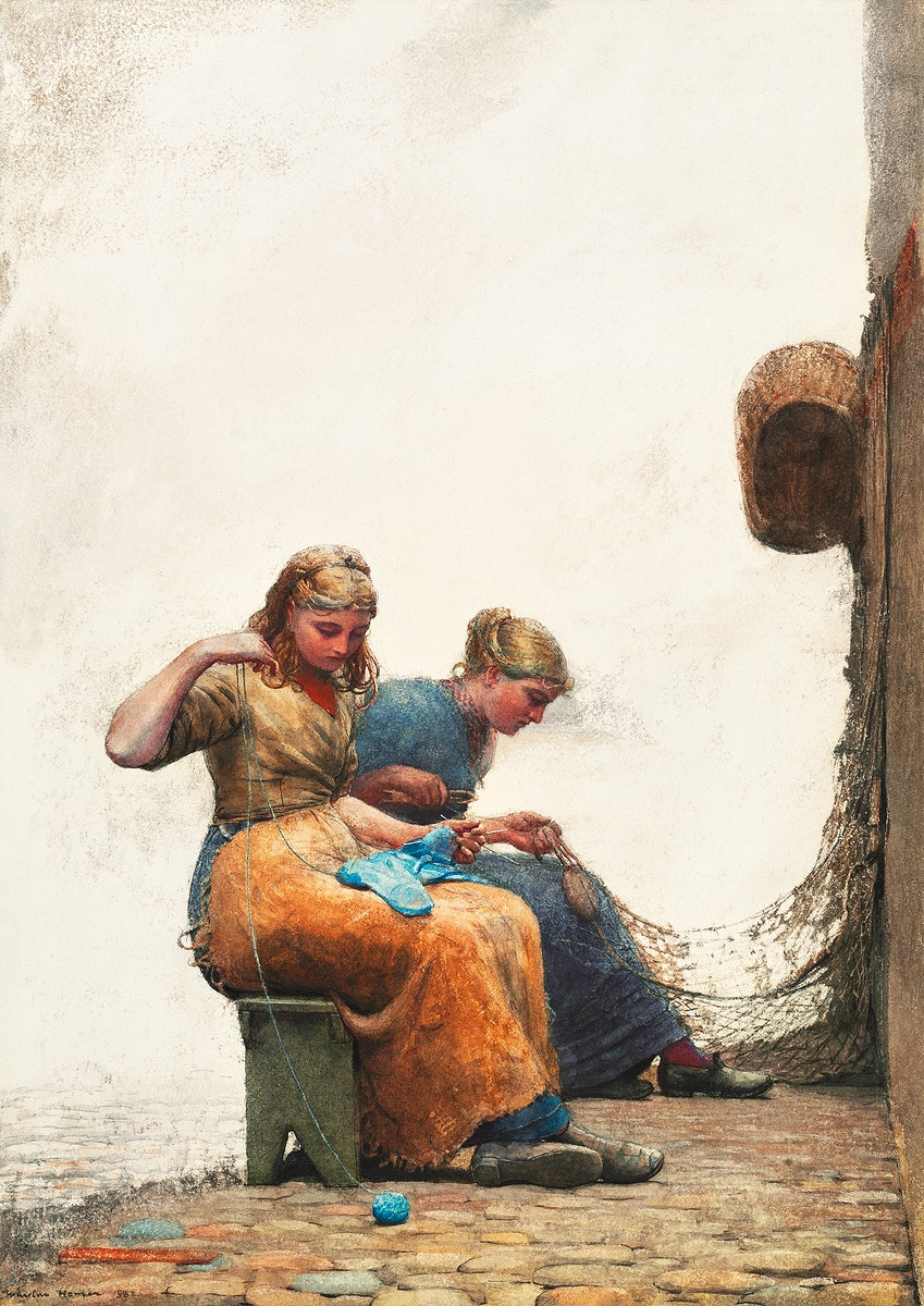 Mending the Nets (1882) by Winslow Homer. Original from The National Gallery of Art. Digitally enhanced by rawpixel.
