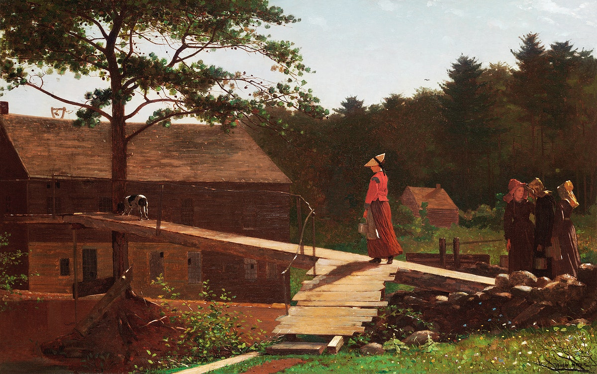 Old Mill, The Morning Bell (1871) by Winslow Homer. Original from Yale University Art Gallery. Digitally enhanced by…