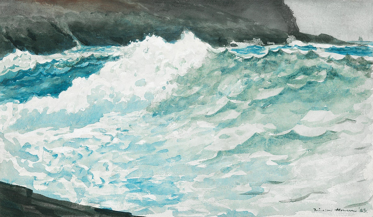 Surf, Prout's Neck (1883) by Winslow Homer. Original from Yale University Art Gallery. Digitally enhanced by rawpixel.