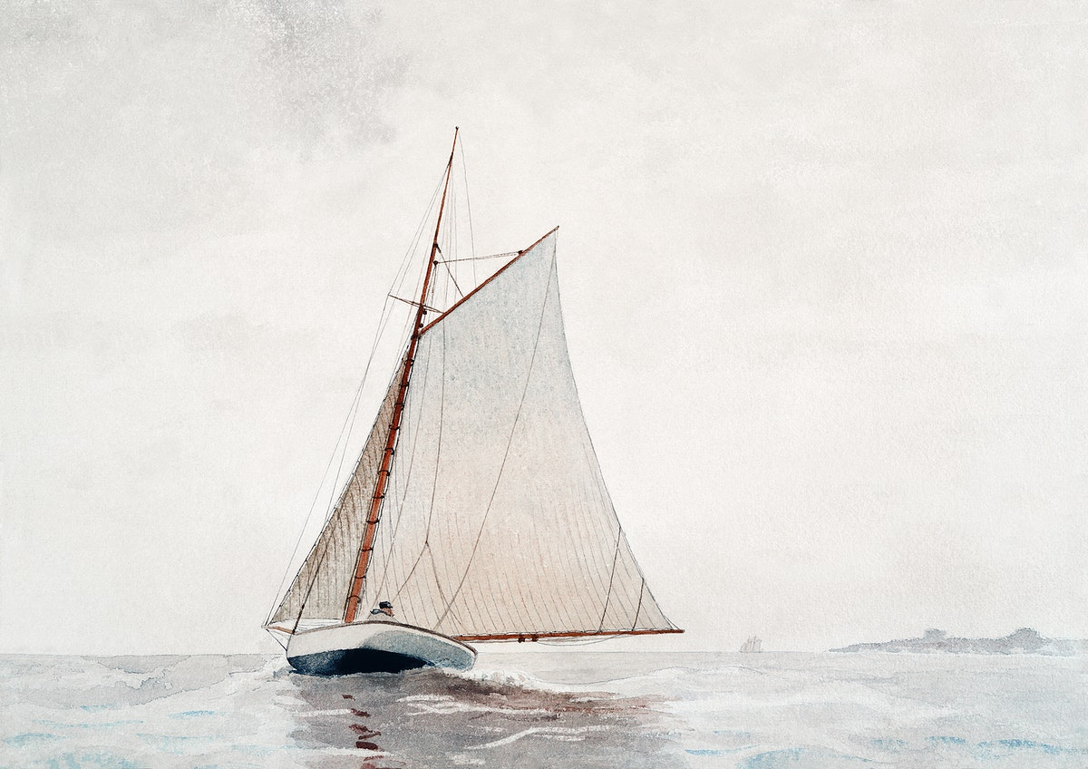 Sailing off Gloucester (ca.1880) by Winslow Homer. Original from Yale University Art Gallery. Digitally enhanced by rawpixel.