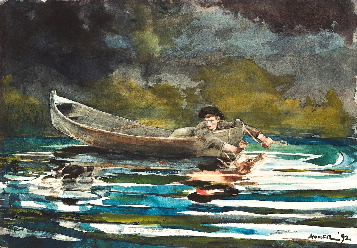 Sketch for Hound and Hunter (ca. 1891–1892) by Winslow Homer. Original from The National Gallery of Art. Digitally…