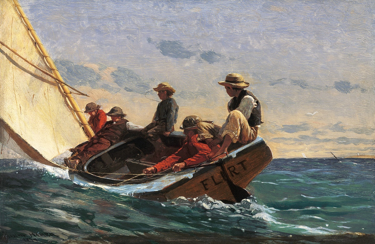 The Flirt (1874) by Winslow Homer. Original from The National Gallery of Art. Digitally enhanced by rawpixel.