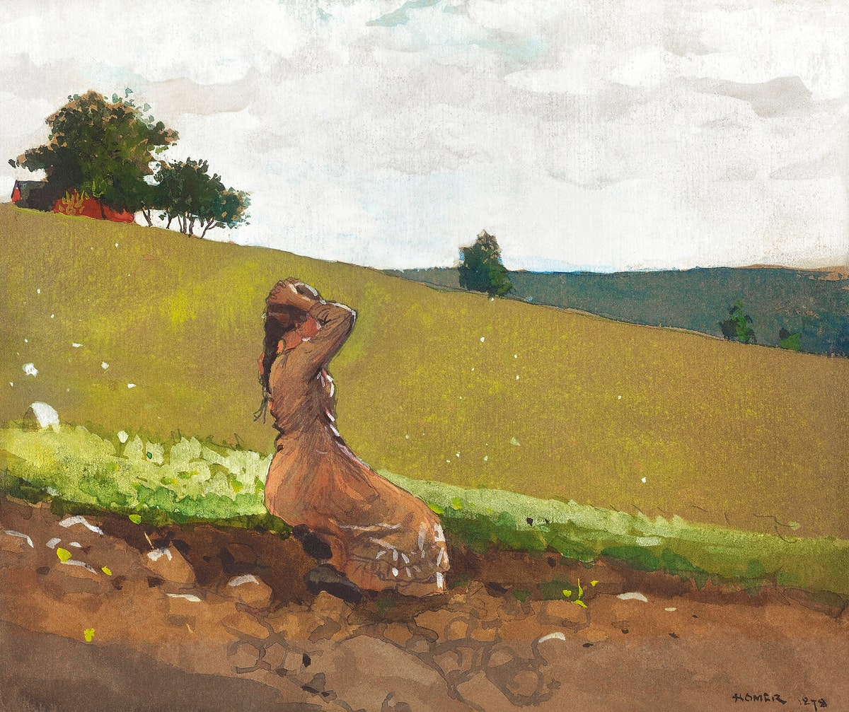 The Green Hill (1878) by Winslow Homer. Original from The National Gallery of Art. Digitally enhanced by rawpixel.