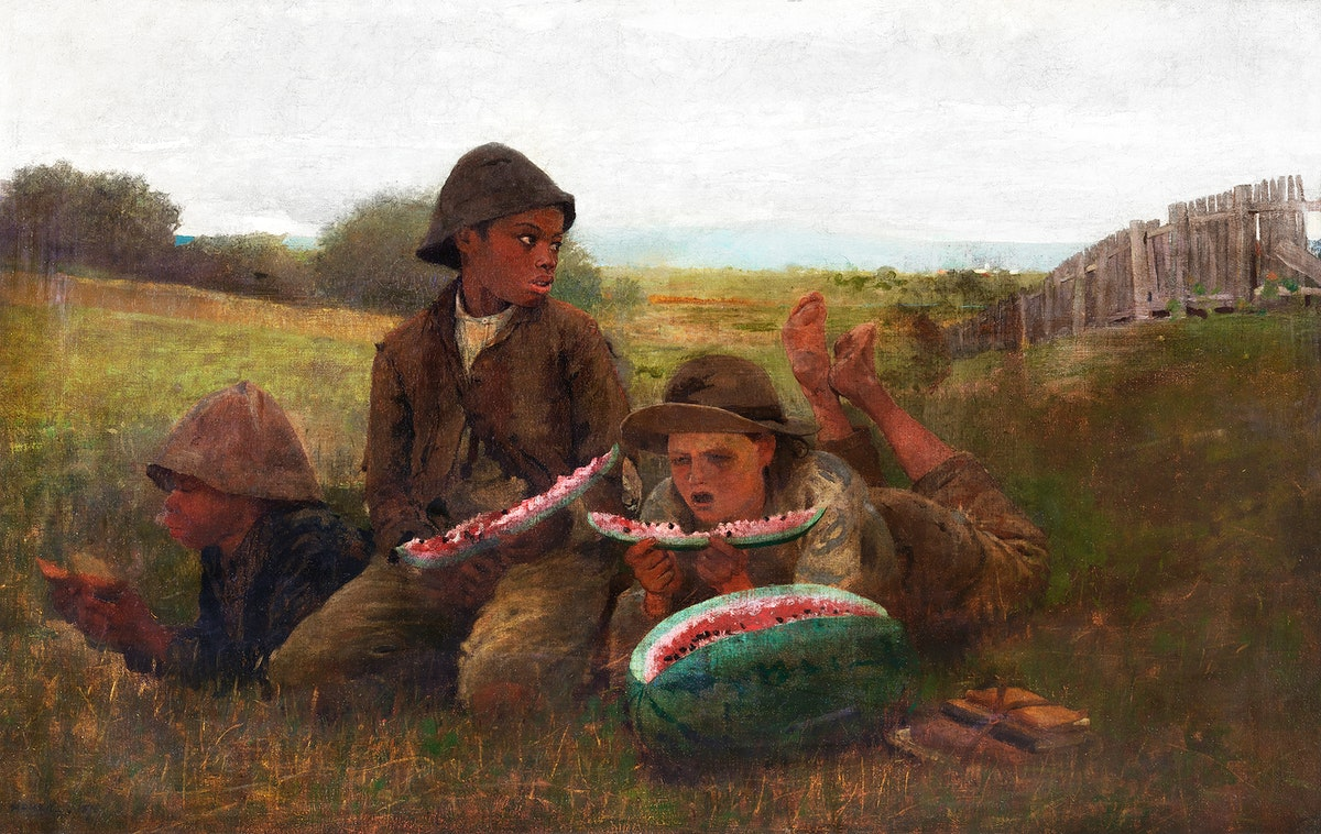 The Watermelon Boys (1876) by Winslow Homer. Original from The Smithsonian. Digitally enhanced by rawpixel.