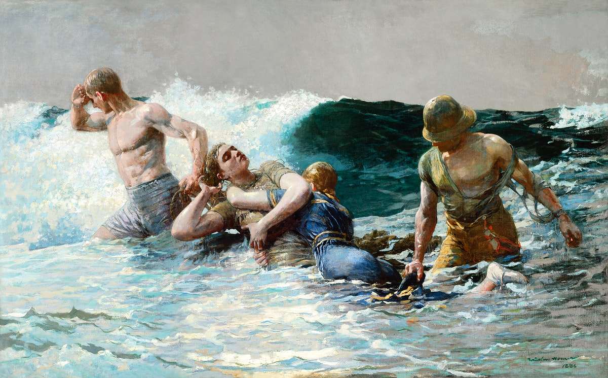Undertow (1886) by Winslow Homer. Original from The Clark Art Institute. Digitally enhanced by rawpixel.