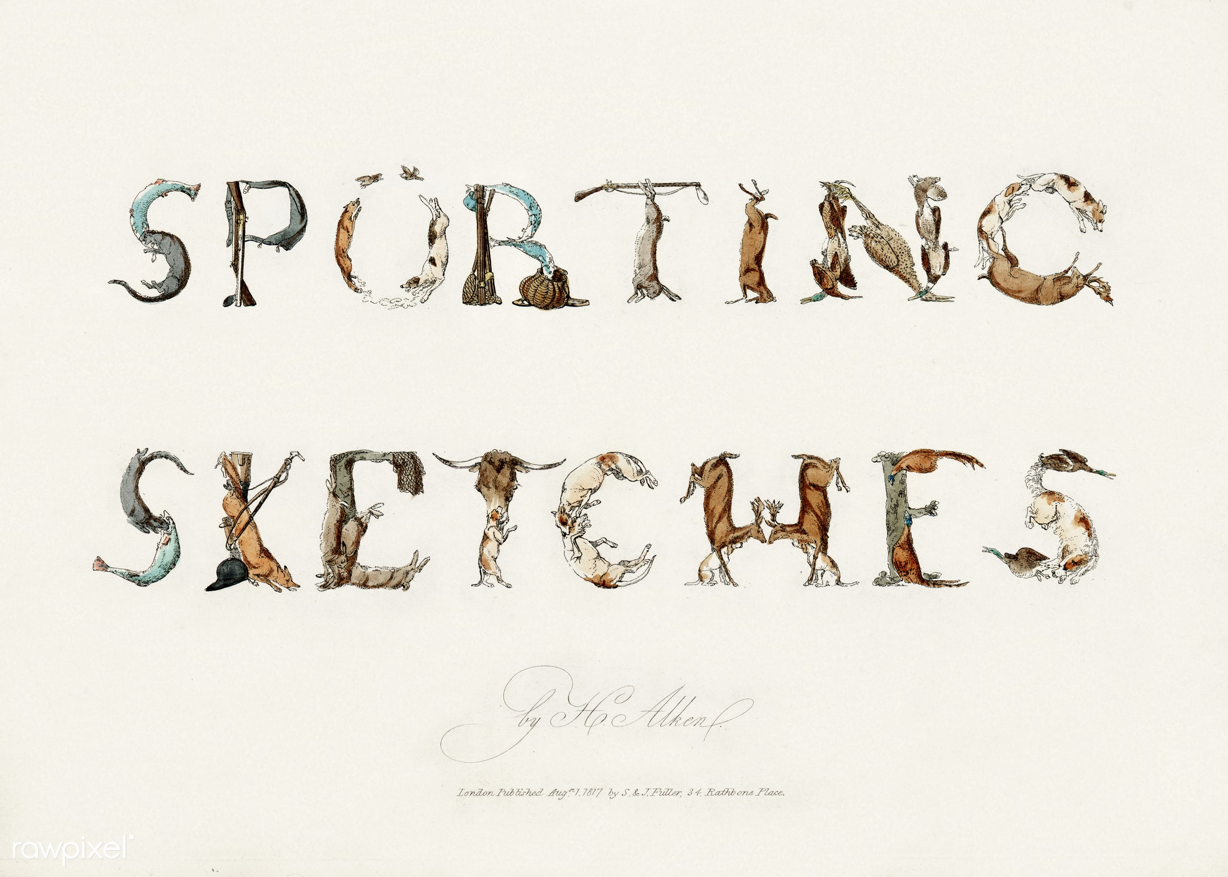 """Typography """"Sporting Sketches"""" from Sporting Sketches: Consisting of subjects relating to sports of the field..."""