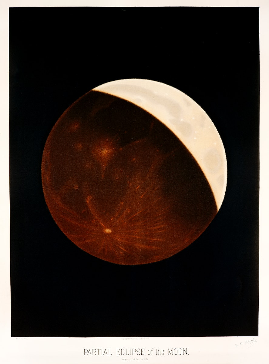 Partial eclipse of the moon from the Trouvelot astronomical drawings (1881-1882) by E. L. Trouvelot (1827-1895). Original…