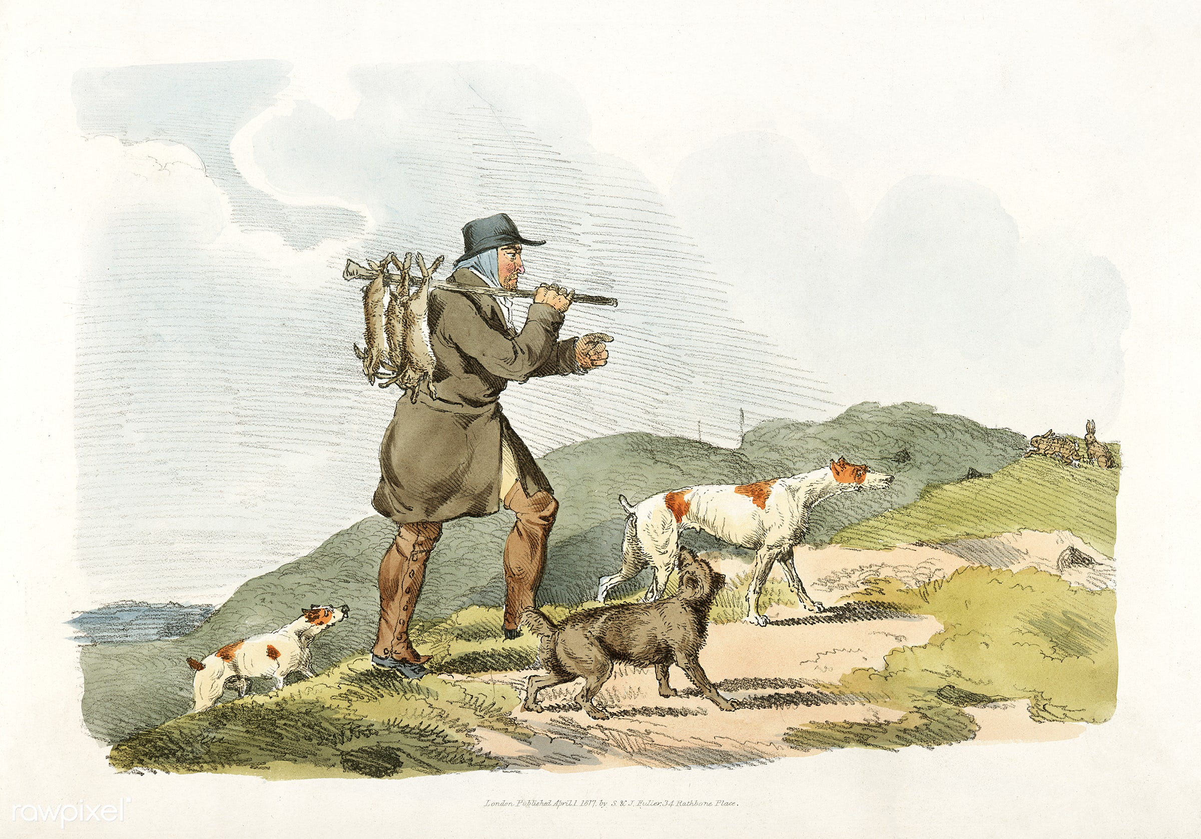 Illustration of a hunter with rabbits from Sporting Sketches (1817-1818) by Henry Alken (1784-1851). - animal, antique, cc0...