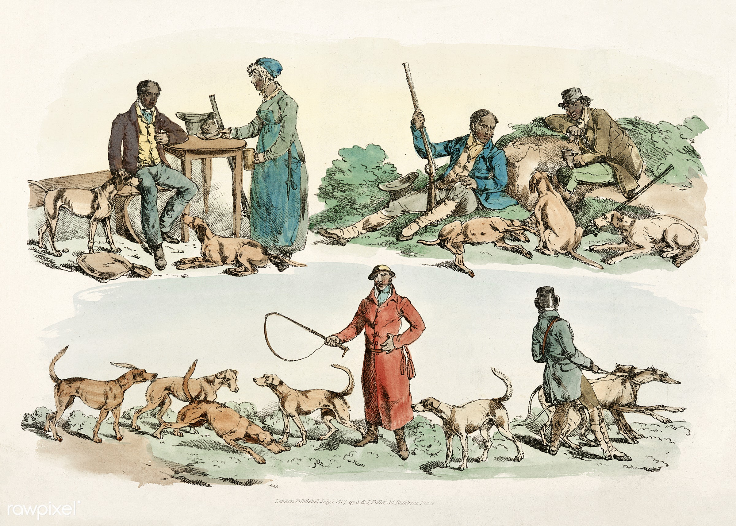 Illustration of scene of the hunter's life from Sporting Sketches (1817-1818) by Henry Alken (1784-1851). - animal,...