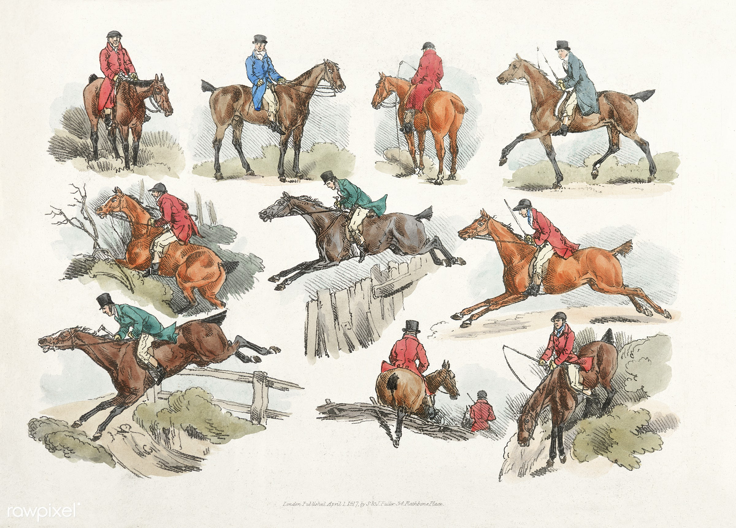 Illustration of mounted sportsmen from Sporting Sketches (1817-1818) by Henry Alken (1784-1851). - animal, antique, canter,...