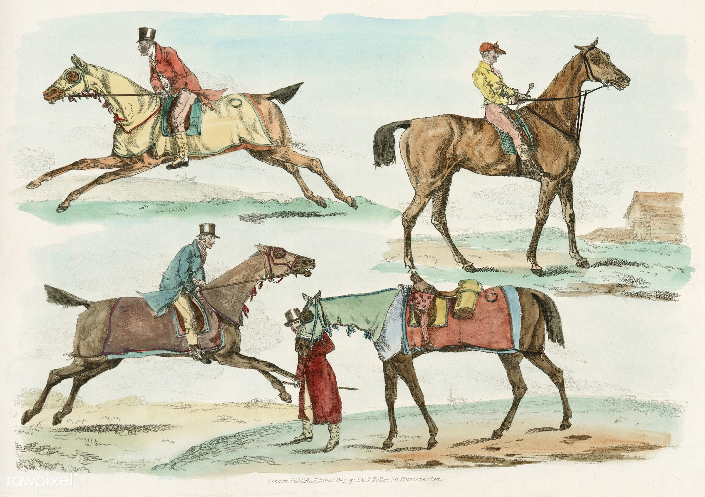 Illustration of hunters training their horses from Sporting Sketches (1817-1818) by Henry Alken (1784-1851). - animal,...