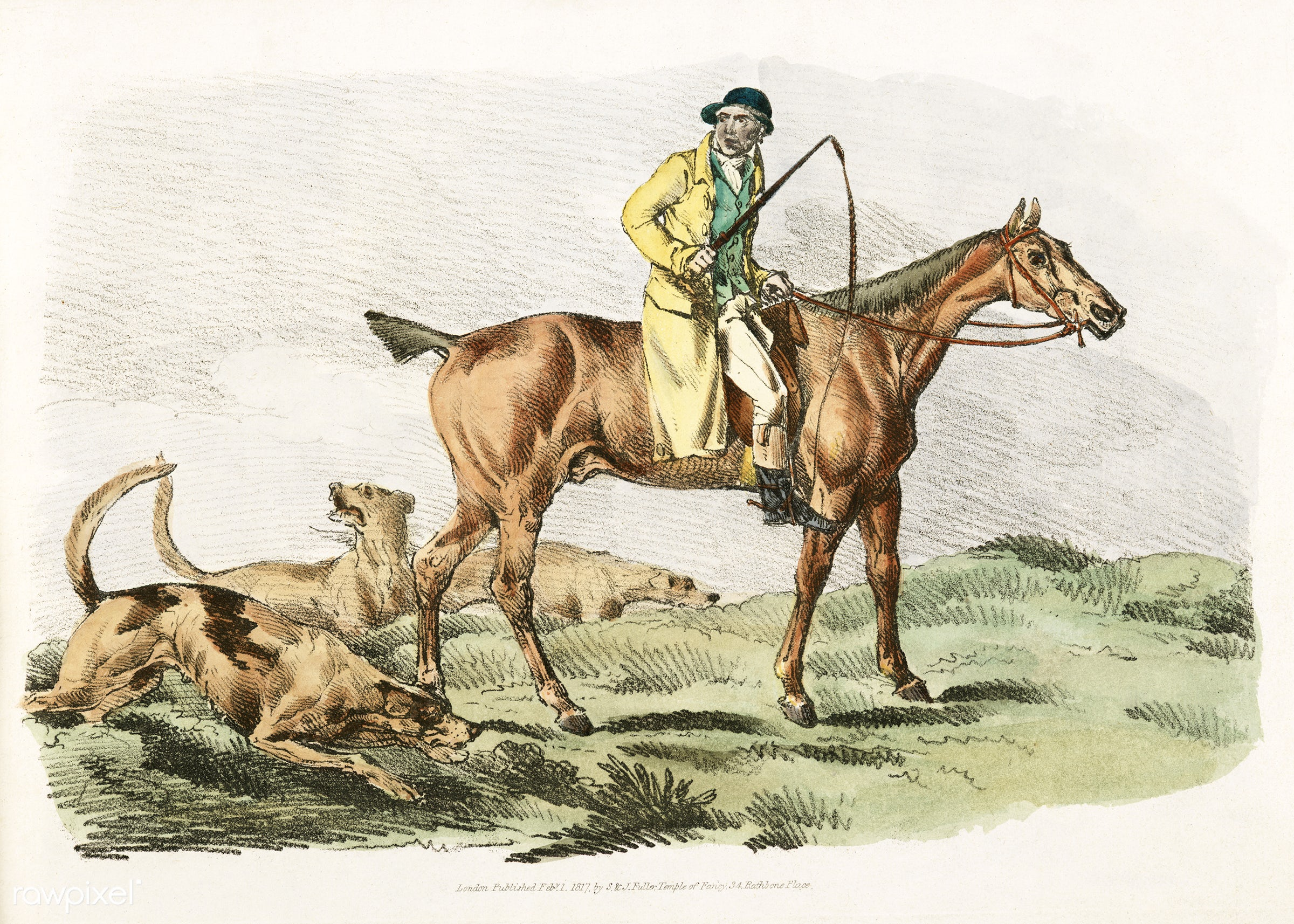 Illustration of mounted hunter with three hounds running behind from Sporting Sketches (1817-1818) by Henry Alken (1784-1851...