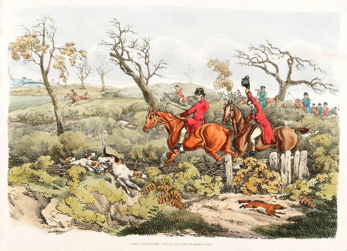 Illustration of fox hunting from Sporting Sketches (1817-1818) by Henry Alken (1784-1851). Original from The New York Public…