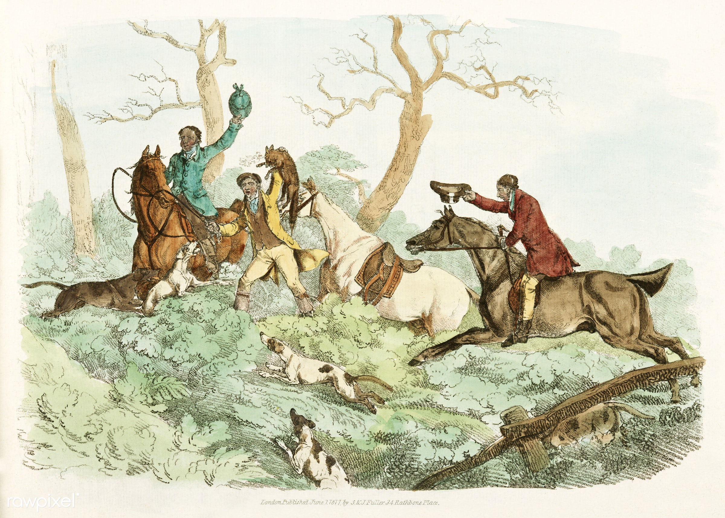Illustration of successful fox hunting from Sporting Sketches (1817-1818) by Henry Alken (1784-1851). - animal, antique, cc0...