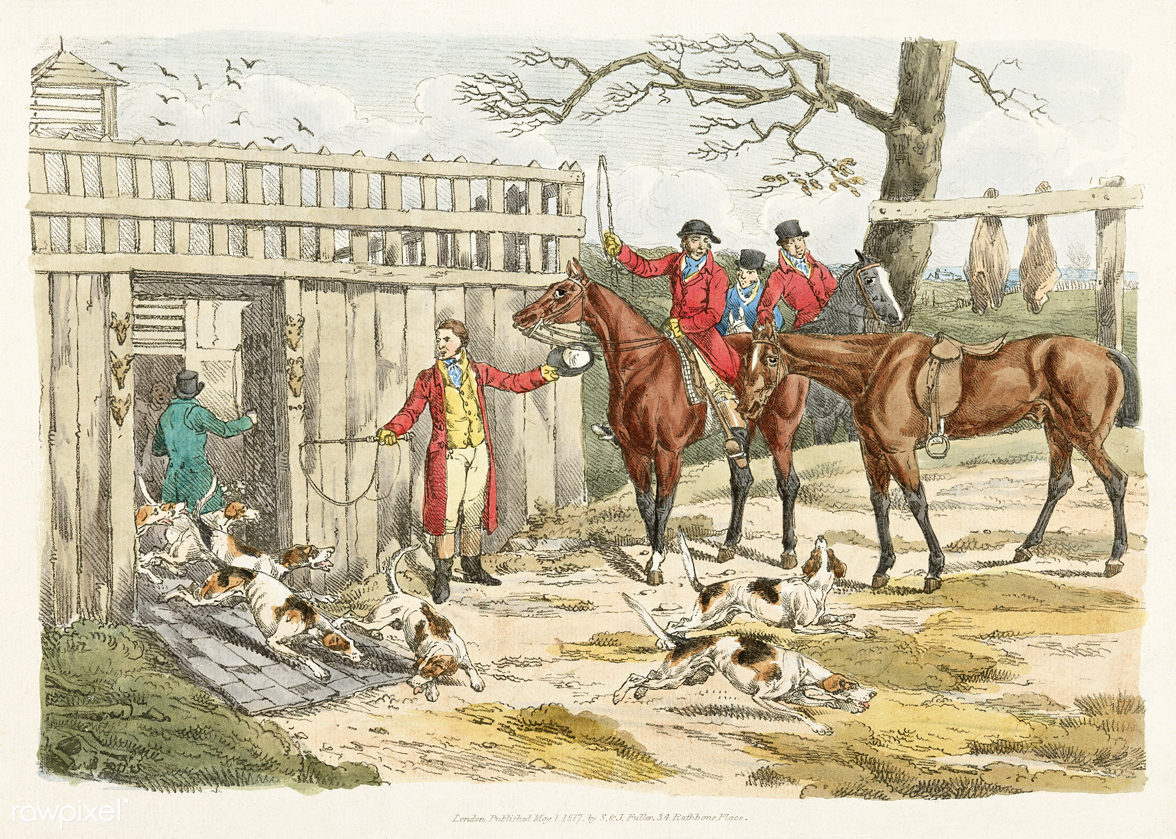 Illustration of releasing the dogs for hunting from Sporting Sketches (1817-1818) by Henry Alken (1784-1851). - animal,...