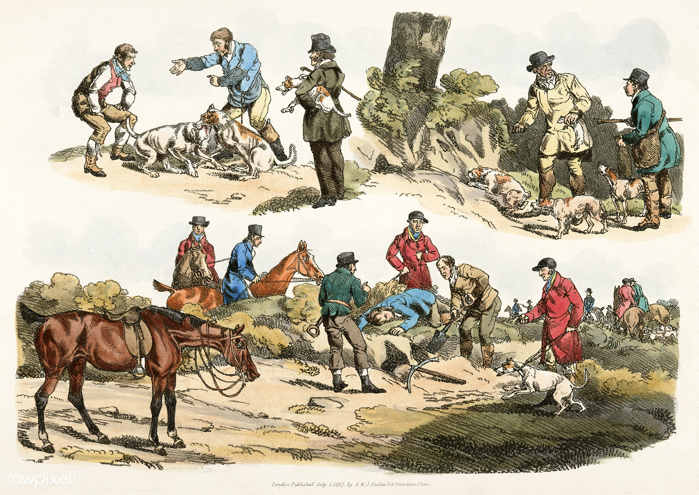 Illustration of hunter trying to get animal from its burrow from Sporting Sketches (1817-1818) by Henry Alken (1784-1851...