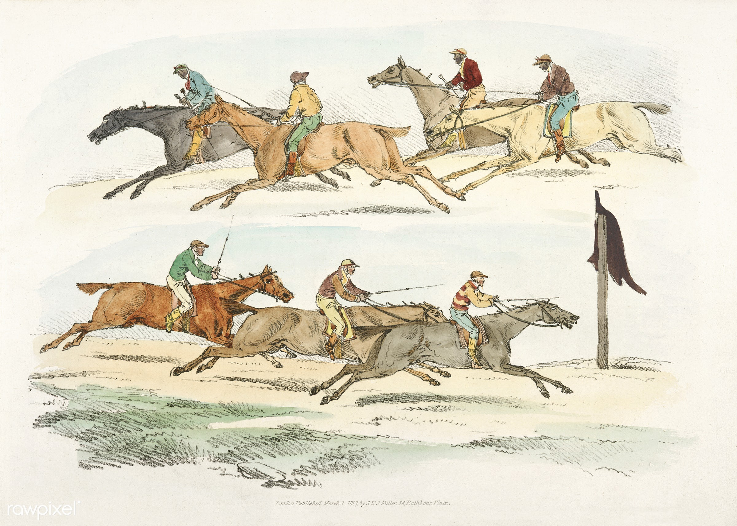 Illustration of horse race from Sporting Sketches (1817-1818) by Henry Alken (1784-1851). - animal, antique, cc0, creative...