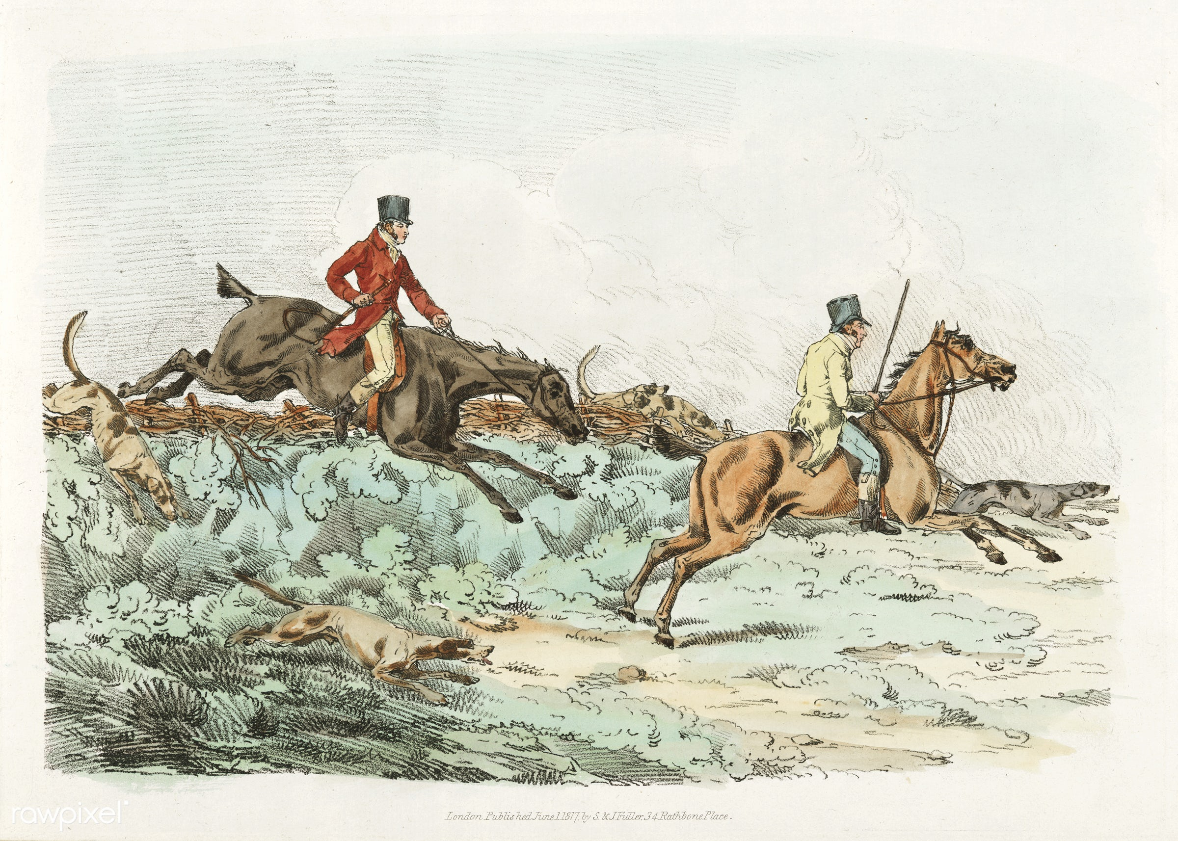 Illustration of men clearing hurdle during a hunting from Sporting Sketches (1817-1818) by Henry Alken (1784-1851). - animal...