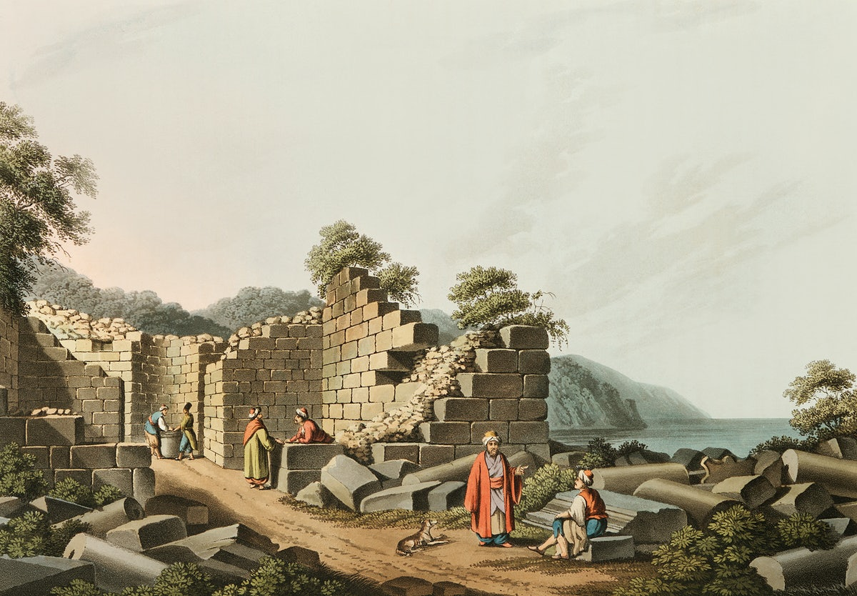 Ruins Of An Ancient Temple In Samos From Views In The Ottoman Dominion Free Public Domain Illustration 328640