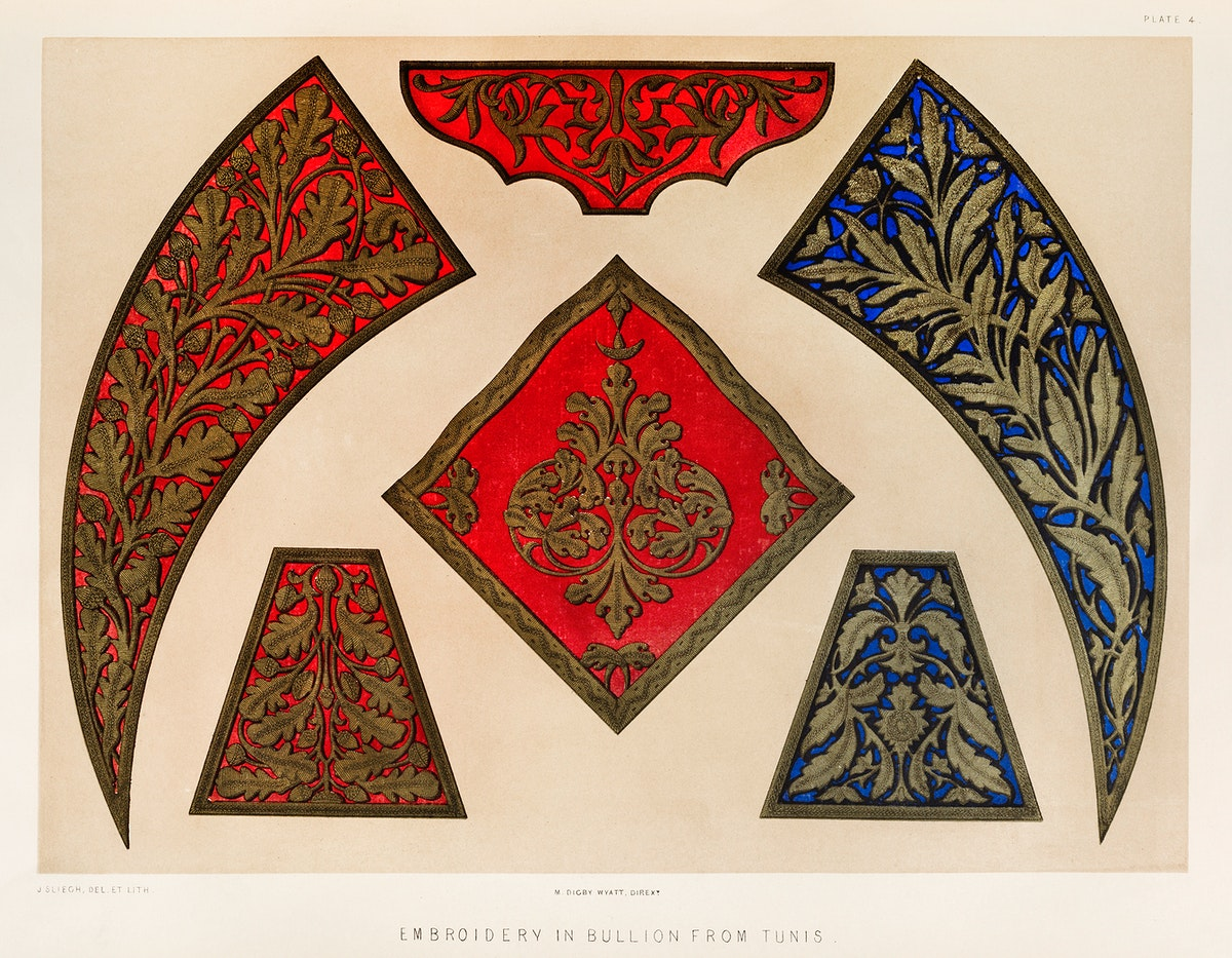 Embroidery in bullion of Tunis from the Industrial arts of the Nineteenth Century (1851-1853) by Sir Matthew Digby wyatt…