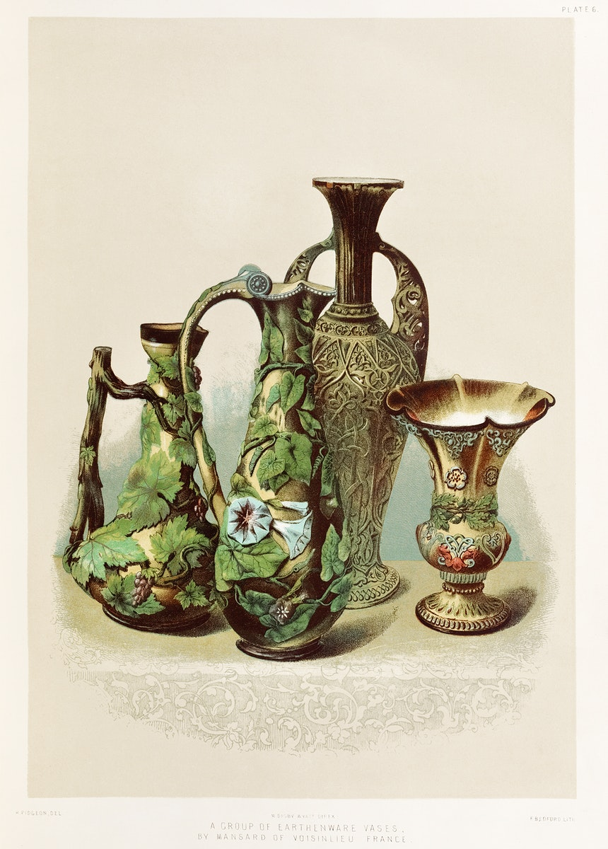 A group of earthenware vases by Mansard of Voisinlieu France from the Industrial arts of the Nineteenth Century (1851-1853)…