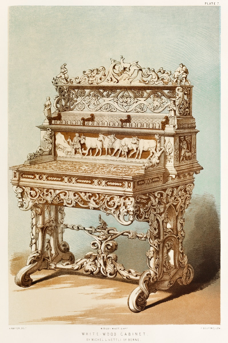 White-wood cabinet by Michel L. Wettli of Berne from the Industrial arts of the Nineteenth Century (1851-1853) by Sir Matthew…