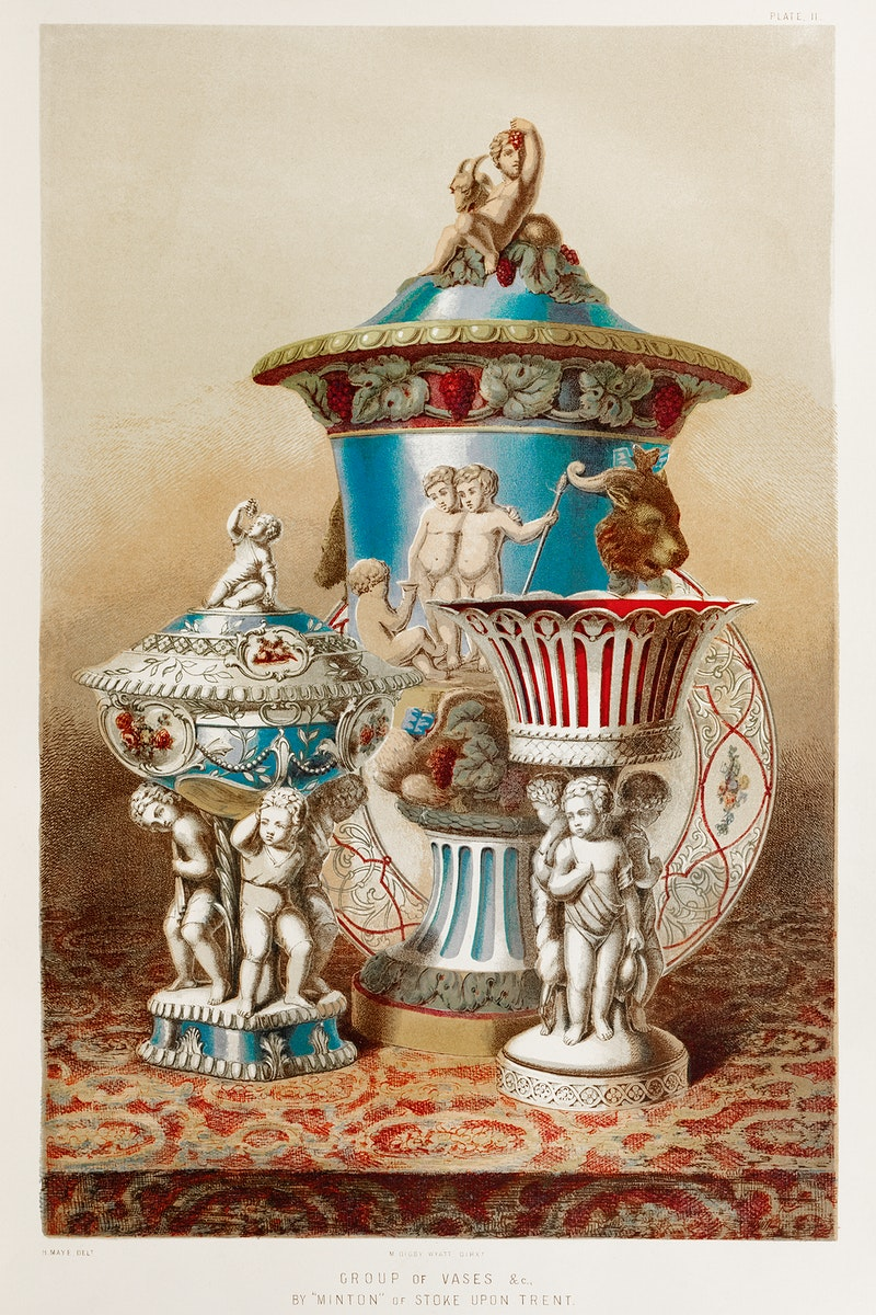 """Group of vases & c. by """"Minton"""" of Stoke upon Trent from the Industrial arts of the Nineteenth Century (1851-1853) by Sir…"""