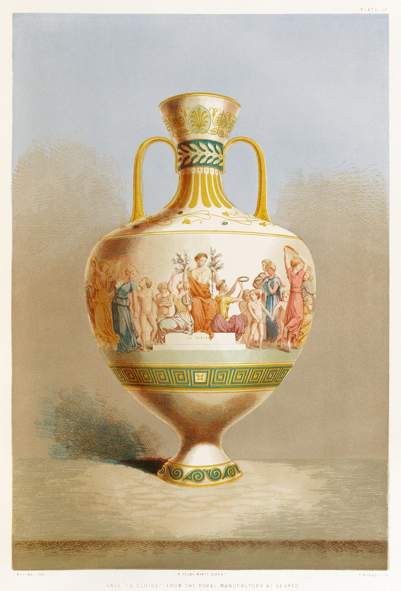 """Vase """"la gloire"""" from the royal manufactory at Sévres from the Industrial arts of the Nineteenth Century (1851-1853)…"""