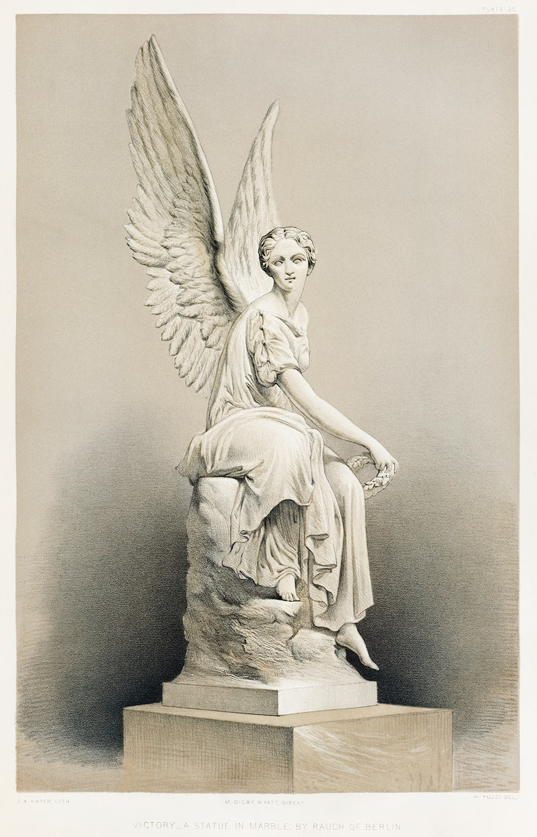 """""""Victory"""" a statue in marble from the Industrial arts of the Nineteenth Century (1851-1853) by Sir Matthew Digby wyatt (1820…"""