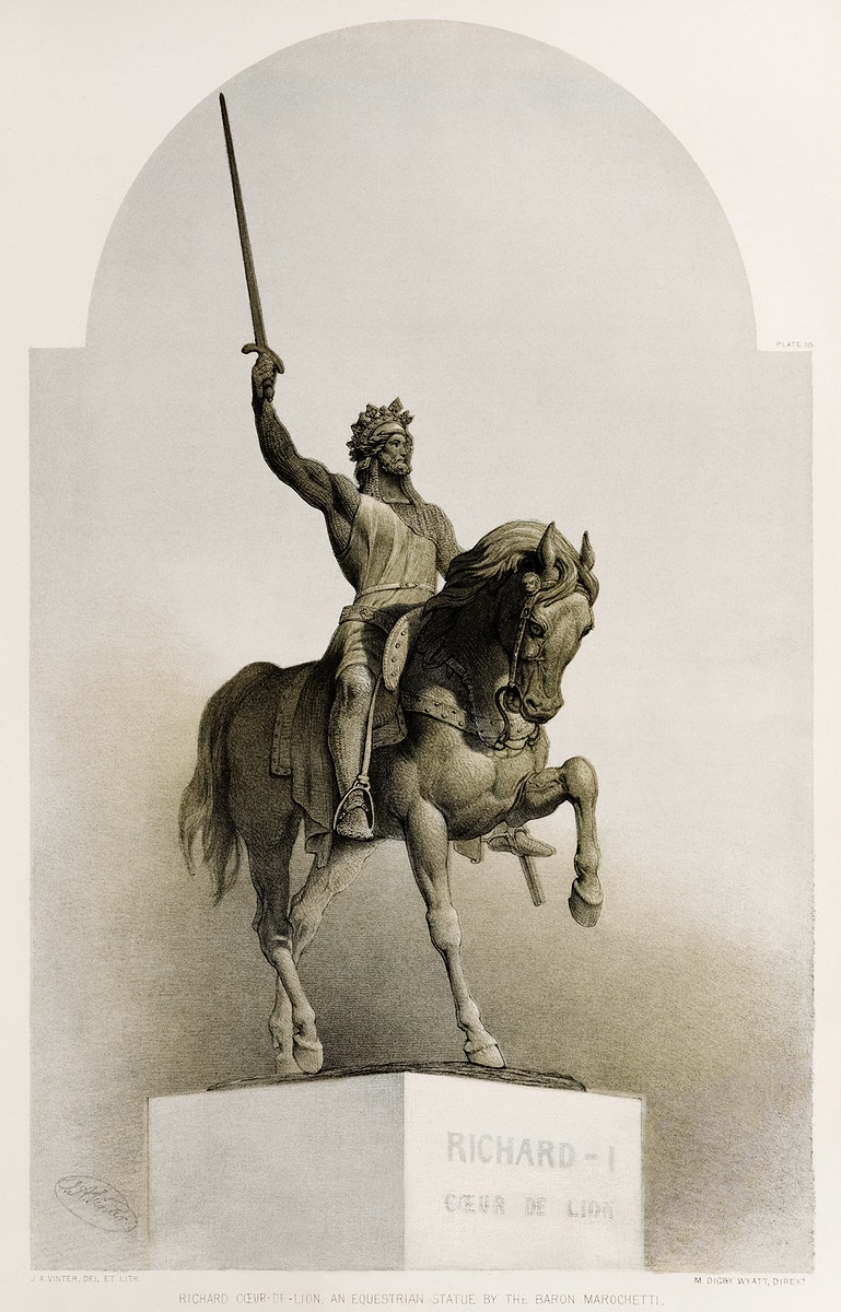 """""""Richard the Lionheart """", an equestrian statue by the baron Marochetti from the Industrial arts of the Nineteenth Century…"""