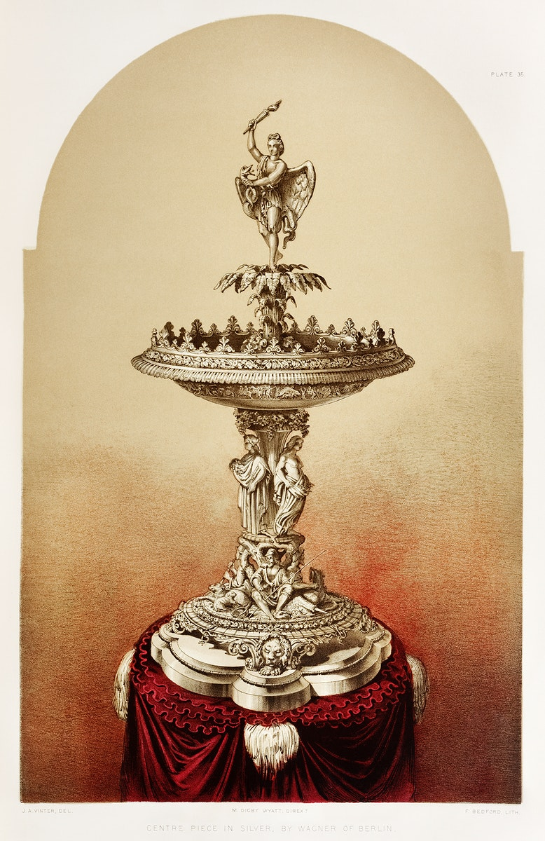 Centre piece in silver from the Industrial arts of the Nineteenth Century (1851-1853) by Sir Matthew Digby wyatt (1820-1877).
