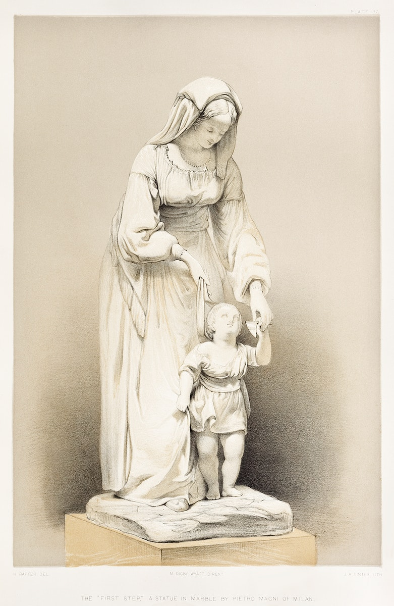 """""""The first step"""" a statue in marble from the Industrial arts of the Nineteenth Century (1851-1853) by Sir Matthew Digby wyatt…"""