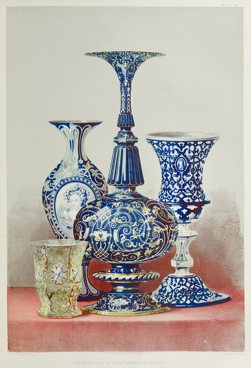 Group of glass from the Industrial arts of the Nineteenth Century (1851-1853) by Sir Matthew Digby wyatt (1820-1877).