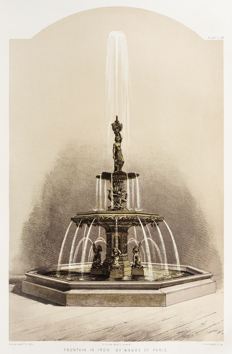 Fountain in iron from the Industrial arts of the Nineteenth Century (1851-1853) by Sir Matthew Digby wyatt (1820-1877).