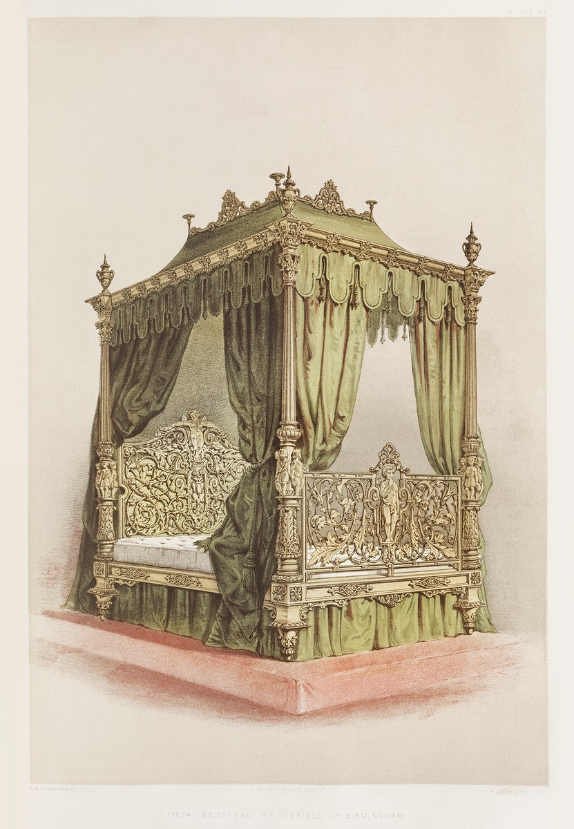 Metal bedstead from the Industrial arts of the Nineteenth Century (1851-1853) by Sir Matthew Digby wyatt (1820-1877).