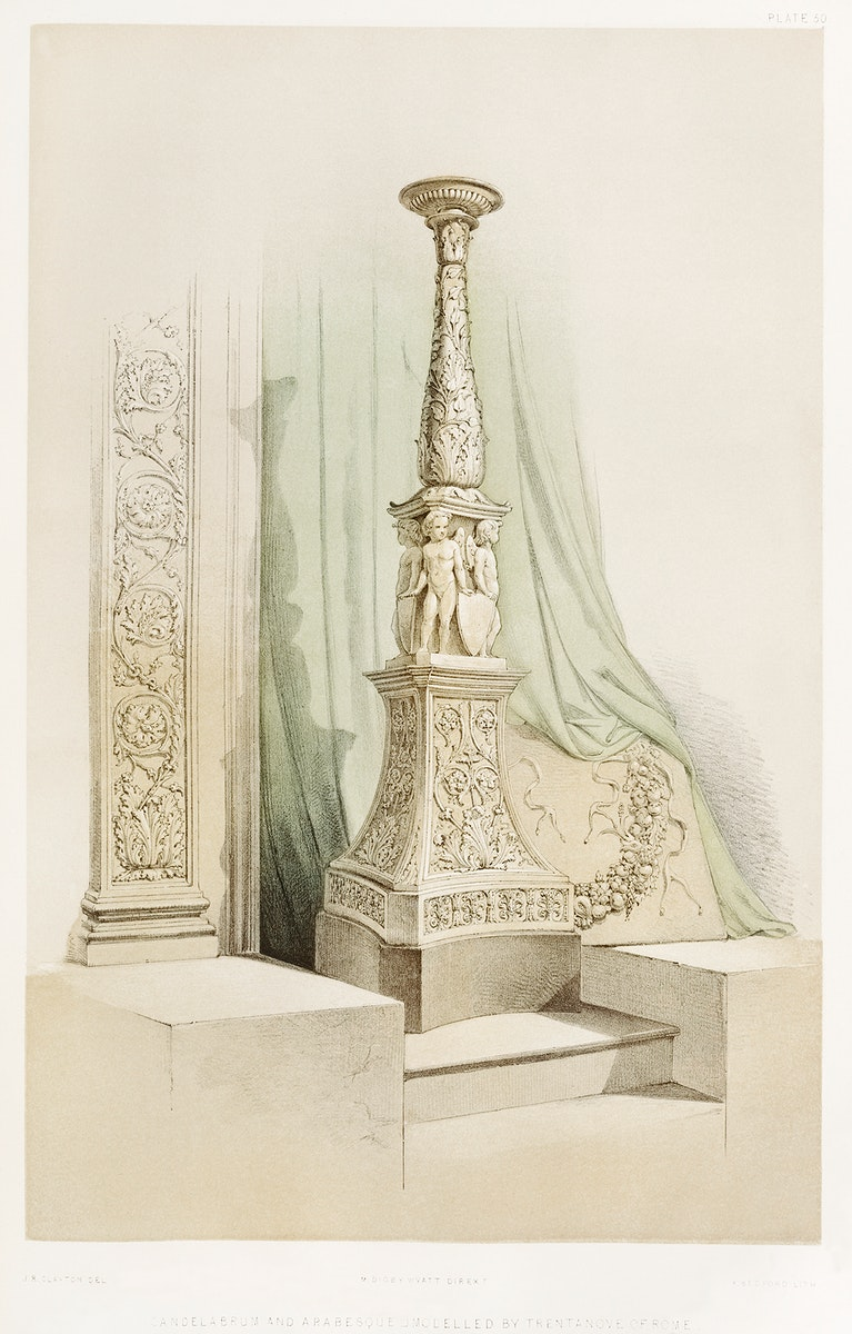 Candelabrum and arabesque from the Industrial arts of the Nineteenth Century (1851-1853) by Sir Matthew Digby wyatt (1820…